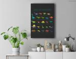 Kids Types Of Dinosaurs Dino Identification Premium Wall Art Canvas Decor