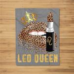 Leo Queen Leopard Lips Leo Fleece Blanket
