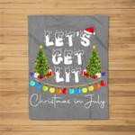 Let's Get-Lit Christmas In July Christmas Tree Fleece Blanket