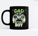 Mens Dad of the Birthday Boy Matching Video Gamer Birthday Party Ceramic Coffee Black Mugs