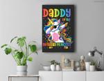 Mens Daddy of the Birthday Princess Dabbing Unicorn Girl Premium Wall Art Canvas Decor