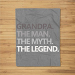 Mens GRANDPA THE MAN THE MYTH THE LEGEND Father's Day Men Fleece Blanket