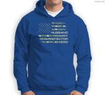 Mens Husband Daddy Protector Hero Fathers Day Flag Gift Sweatshirt & Hoodie