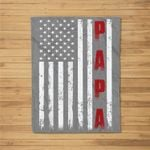 Mens Proud Papa Funny Fathers Day 2021 Gifts From Grandchildren Fleece Blanket
