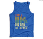 Mens Vintage Fun Uncle Man Myth Bad Influence Funny . Men Tank Top