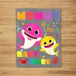 Mommy Of The Baby Shark Birthday Mommy Shark Fleece Blanket