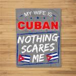 My Wife Is Cuban Republic of Cuba Heritage Roots Flag Pride Fleece Blanket