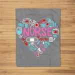 Nurse Love Nursing Student RN Life Thank You Gifts for Women Fleece Blanket