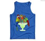 Parrots Drinking Margarita Hawaiian Vacation Birds Men Tank Top