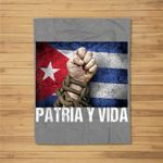 Patria-Y-Vida, Cuba Flag, Cuban Fist, Free Cuba, Cuba Gift Fleece Blanket