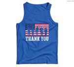 Patriotic American Flag Thank You Men Women Girls Boys Kids Men Tank Top