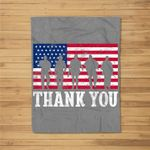 Patriotic American Flag Thank You Men Women Girls Boys Kids Fleece Blanket