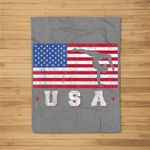 Patriotic Sports Gift American USA Flag Girls Gymnastics Fleece Blanket
