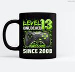 Level 13 Unlocked Awesome 2008 Video Game 13th Birthday Gift Ceramic Coffee Black Mugs