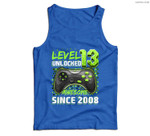 Level 13 Unlocked Awesome 2008 Video Game 13th Birthday Gift Men Tank Top