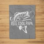 Mens Reel Cool Papa Fishing Dad Gifts Father's Day Fisherman Fish Fleece Blanket