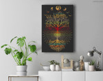 Phases of the Moon Retro 60's 70's Vibe Tree of Life Premium Wall Art Canvas Decor
