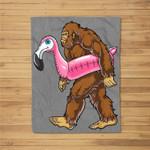 Pool Party Bigfoot Flamingo Sasquatch Pink Float Fleece Blanket