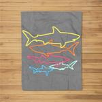 Retro 80s Shark Clothes Shark Party Kids Women Men Sharks Fleece Blanket
