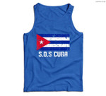 SOS Cuba El cambio es ya Abajo la Dictadura Bandera Cubana Men Tank Top