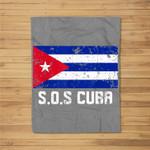 SOS Cuba El cambio es ya Abajo la Dictadura Bandera Cubana Fleece Blanket