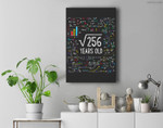 Square Root Of 256 16th Birthday 16 Year Old Gifts Math Bday Premium Wall Art Canvas Decor