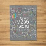 Square Root Of 256 16th Birthday 16 Year Old Gifts Math Bday Fleece Blanket