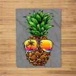 Sunglasses Pineapple Aloha Hawaii Luau Hawaiian Vacation Fleece Blanket
