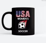 Support Women's Soccer Team USA Ceramic Coffee Black Mugs