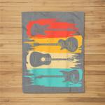 Vintage Guitar Gift For Men Women Music Band Guitarist Stuff Fleece Blanket