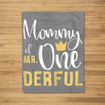 Womens Mommy of Mr Onederful 1st Birthday First One-Derful Matching Fleece Blanket