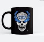 WWE Stone Cold Distressed Blue Smoke Skull Ceramic Coffee Black Mugs
