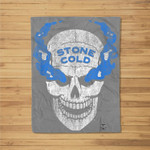 WWE Stone Cold Distressed Blue Smoke Skull Fleece Blanket