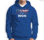 Trump Won 4th of July American Flag Sweatshirt & Hoodie