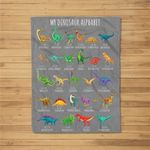 Types Of Dinosaurs Alphabet A-Z ABC Dino Identification Fleece Blanket