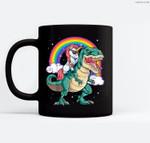 Unicorn Riding T rex Dinosaur Boys Girls Kids Gift Men Women Ceramic Coffee Black Mugs