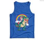 Unicorn Riding T rex Dinosaur Boys Girls Kids Gift Men Women Men Tank Top