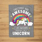 Unicorns Are Awesome I'm A Unicorn - Funny Rainbow Gift Fleece Blanket