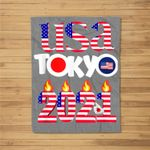 USA Tokyo Japan 2021 America Flag Fleece Blanket