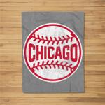 Vintage Chicago Baseball Stitches Fleece Blanket