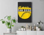 Vintage Downtown San Diego Cali Skyline Baseball Premium Wall Art Canvas Decor