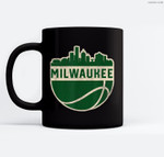 Vintage Milwaukee Wisconsin Cityscape Basketball Ceramic Coffee Black Mugs