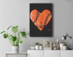 Vintage San Francisco Baseball Heart Premium Wall Art Canvas Decor