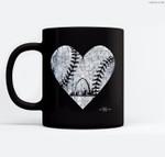 Vintage St. Louis Baseball Heart w Skyline Ceramic Coffee Black Mugs
