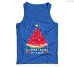 Watermelon Christmas Tree Christmas In July Summer Vacation Men Tank Top