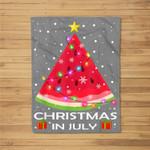 Watermelon Christmas Tree Christmas In July Summer Vacation Fleece Blanket