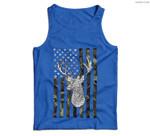 Whitetail Buck Deer Hunting American Camouflage USA Flag Men Tank Top