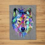 Wolf Splash Art Animal Face  Wolf Lover Fleece Blanket