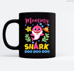 Womens Mommy Shark Gift Cute Baby Shark Family Matching Outfits Ceramic Coffee Black Mugs