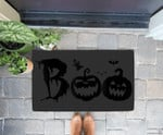 Funny Boo Pumpkin Halloween Costume With Bat And Ghost Doorrmat